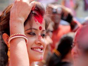 Indian Woman Wearing Sindoor